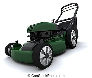 lawn mower - 3D render of a petrol powered lawn mower