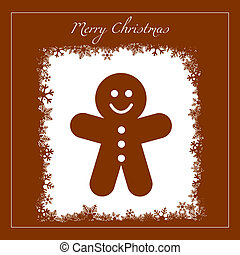 Gingerbread cookie - Vector greeting with gingerbread cookie