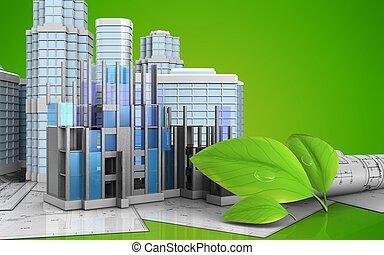 3d of construction progress - 3d illustration of...