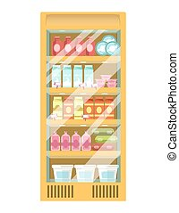 Supermarket fridge with diary products and glass door...