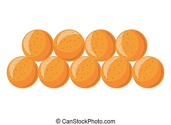 Soft tasty ripe apricots in neat rows isolated illustration...