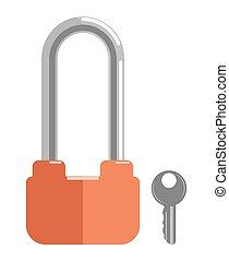 Metal lock with elongated loop and orange corpus - Metal...