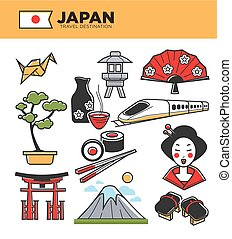 Japan travel famous landmarks and Japanese culture...