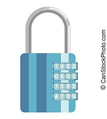 Secure metal lock with numeric code and blue corpus - Secure...