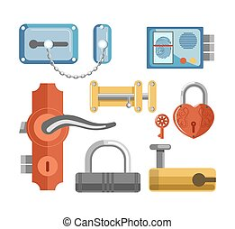 Metal locks for permises protection isolated illustrations...