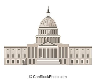 Famous United States Capitol building isolated cartoon...