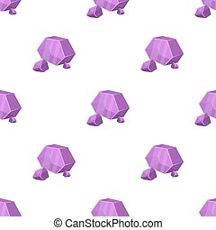 Purple rough gemstone icon in cartoon style isolated on...