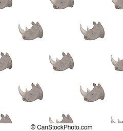 Rhinoceros icon in cartoon style isolated on white background. Realistic animals symbol stock bitmap, raster illustration.