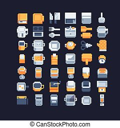 kitchen utensils pixel art icons set, vector illustrations....