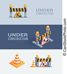 under construction web banners, vector illustrations set