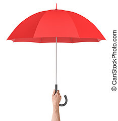 A male hand holds a large classic red umbrella with an open...