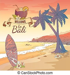 Welcome To Bali Background - Hand drawn bali elements square...