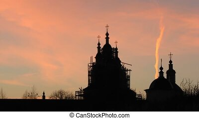 Restored Church Against the Sunset - A short time lapse of...