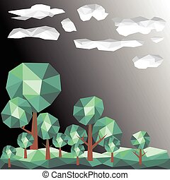 Vector green tree and clouds graphic polygon