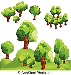 Abstract polygon trees in forest. Mountain landscape.