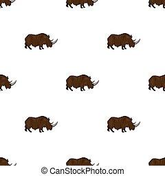 Woolly rhinoceros icon in cartoon style isolated on white background. Stone age symbol stock bitmap, raster illustration.