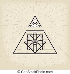 All seeing eye vintage background - All seeing eye and magic...