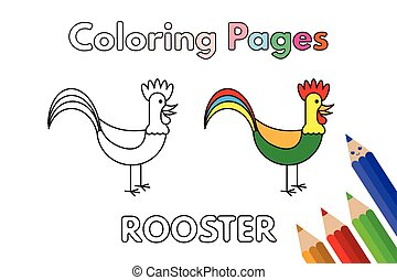 Cartoon Rooster Coloring Book - Cartoon rooster...