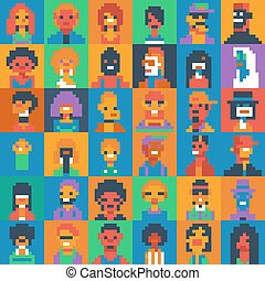 pixel art people characters set, various ages and...