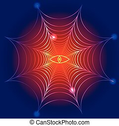 spider web, cobweb with fire eye, vector illustration