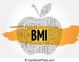 BMI - Body Mass Index, apple word cloud collage, health...