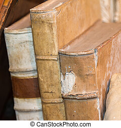 Three Old Antique Books - Vintage stack of white books