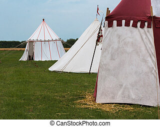 Group of Tents on Meadow set up for Medieval Event...