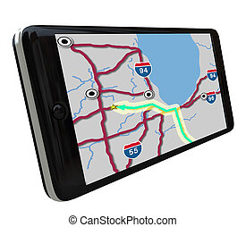 Navigation GPS Software on Smart Phone - A navigation map on...