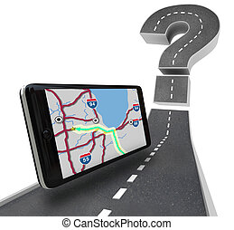 Navigation GPS Unit on Road - Question Mark - A GPS...