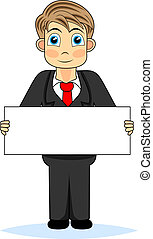 Cute boy businessman holding blank - vector illustration of...