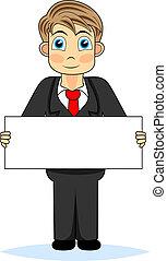 Cute boy businessman holding blank