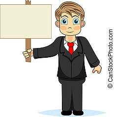 Cute boy businessman holding wood s - vector illustration of...