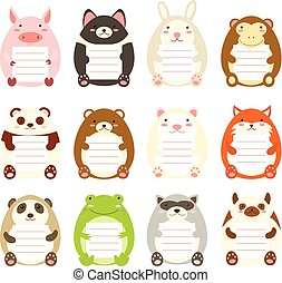 Collection of cute animal memo pads