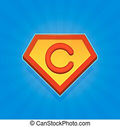 Superhero Logo Icon with Letter C on Blue Background. Vector