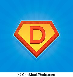 Superhero Logo Icon with Letter D on Blue Background. Vector