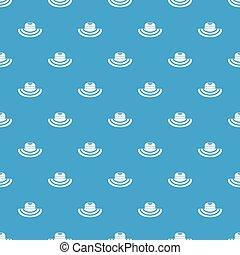 Women beach hat pattern seamless blue - Women beach hat...