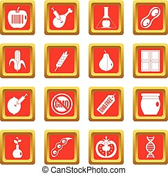 GMO icons set red - GMO icons set in red color isolated...