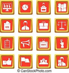 投票, 集合, 選舉, 紅色, 圖象