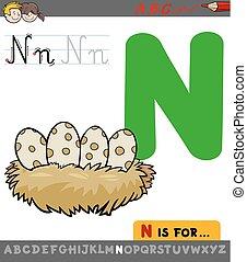 letter n with cartoon bird nest - Educational Cartoon...
