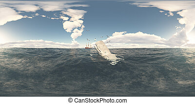 Spherical 360 degrees seamless panorama with sperm whale and whaling ship
