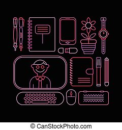 School Supplies - Neon colors on a black background Back to...