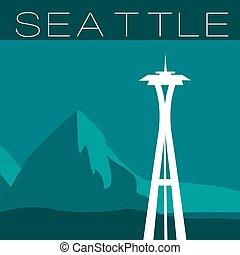 Skyline of Seattle. Flat style panorama of space needle and mountains