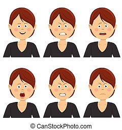 Young businesswoman with various avatar expressions set. Flat illustrations