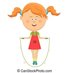 Cute little girl jumping with skipping rope isolated on white