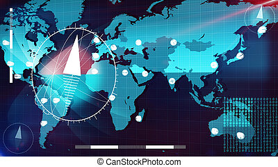 World Internet map with clock arrows and compasses - Amazing...