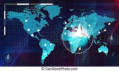 Global Internet map with compasses, clocks, bits -...