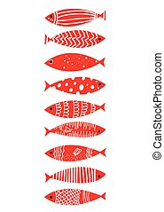 Fishes graphic set in doodle style. Vector graphic...