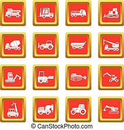 Building vehicles icons set red - Building vehicles icons...