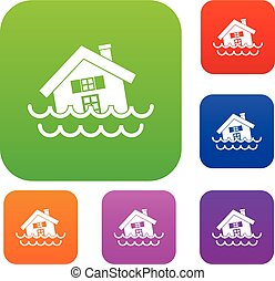 House sinking in a water set collection