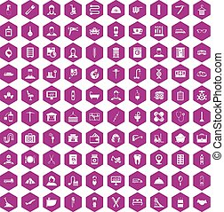 100 craft icons hexagon violet - 100 craft icons set in...